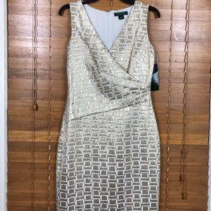 NWT Lauren Ralph Lauren V-Neck Party Dress Size 4